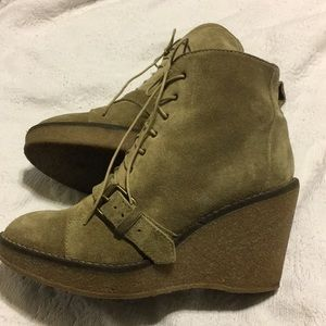 1937 Footwear Suede Beige Wedge Bootie